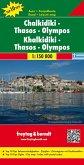 Freytag & Berndt Autokarte Chalkidiki, Thasos, Olympos; Chalcidice, Thasos, Olympus