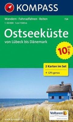 Kompass Karte Ostseeküste von Lübeck bis Dänema...