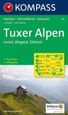 KOMPASS Wanderkarte Tuxer Alpen, Inntal, Wipptal, Zillertal