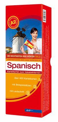 Die wichtigsten 1000 Wörter Spanisch Niveau A2, Karteikarten m. Lernbox