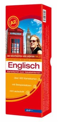 Karteikarten. Die wichtigsten 1000 Wörter Englisch. Fortsetzung Niveau A2