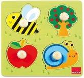 Goula D53010 - Biene, Apfelbaum und Schnecke, 4 Teile Holz Puzzle