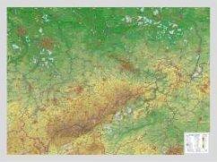 Sachsen, Reliefkarte, Groß
