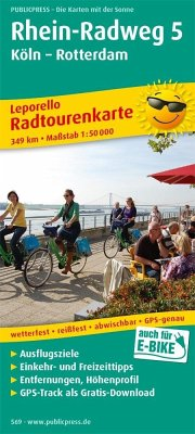 PublicPress Leporello Radtourenkarte Rhein-Radweg 5 Köln - Rotterdam