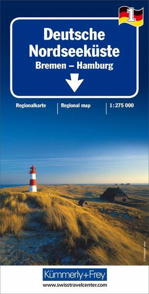 Deutsche Nordseeküste Karte.Kümmerly Frey Karte Deutsche Nordseeküste