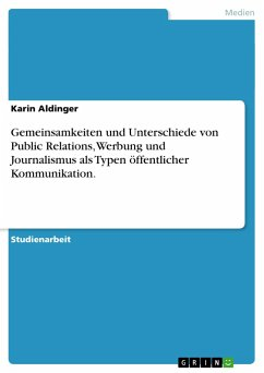 Gemeinsamkeiten und Unterschiede von Public Relations, Werbung und Journalismus als Typen öffentlicher Kommunikation.