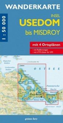 Wanderkarte Insel Usedom bis Misdroy