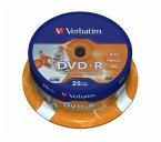 DVD-R 4.7GB/120Min/16x Cakebox (25 Disc), DataLife Plus, InkJet Printable, White Surface