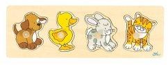 Goki 57866 - Steckpuzzle - Hund, Ente, Has, Katze