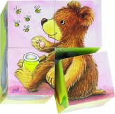 Goki 57056 -Würfelpuzzle Tierkinder, Puzzle, 6 Motive, 4 Teile