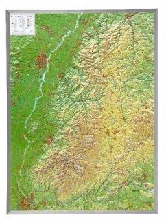 Schwarzwald, Reliefkarte, Groß, mit Aluminiumra...