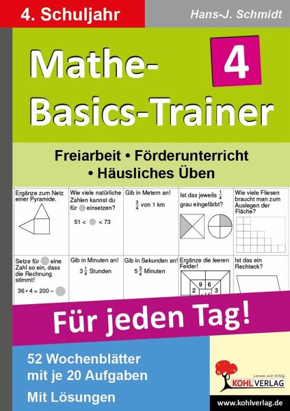 mathe basics trainer 4 schuljahr f r jeden tag von hans. Black Bedroom Furniture Sets. Home Design Ideas