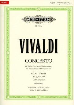 Konzert für Violine, Streicher und Basso continuo G-Dur op. 3 Nr. 3 RV 310 / PV 96 (Ausgabe für Violine und Klavier) - Vivaldi, Antonio