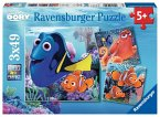 Ravensburger 09345 - Findet Dory, 3 x 49 Teile Puzzle