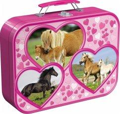 Schmidt 55588 - Pferde, Puzzle-Box 2 x 26, 2 x 48 Teile im Metallkoffer