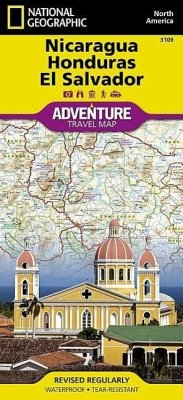 National Geographic Adventure Travel Map Nicaragua, Honduras, El Salvador - National Geographic Maps