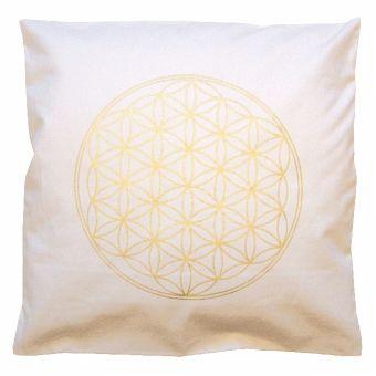 kissenbezug blume des lebens natur gold 40 x 40 cm portofrei bei b. Black Bedroom Furniture Sets. Home Design Ideas