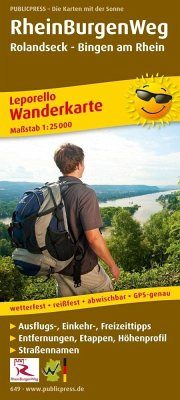 PUBLICPRESS Leporello Wanderkarte RheinBurgenWeg, Rolandseck - Bingen am Rhein