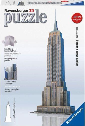 Ravensburger 12553 - Empire State Building, 216 Teile 3D Puzzle-Bauwerke