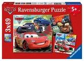 Ravensburger 09281 - Disney Cars, Weltweiter Rennspaß, 3x49 Teile, Puzzle