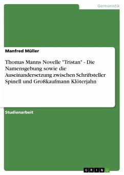 """Thomas Manns Novelle """"Tristan"""" - Die Namensgebung sowie die Auseinandersetzung zwischen Schriftsteller Spinell und Großkaufmann Klöterjahn"""