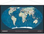 Weltkarte, Planokarte (TING kompatibel), m. Metall-Leisten u. Aufhängesystem