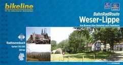Bikeline BahnRadRoute Weser-Lippe von Bremen über Bielefeld nach Paderborn 1 : 50 000
