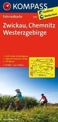 Kompass Fahrradkarte Zwickau, Chemnitz, Westerz...