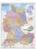 Stiefel Wandkarte Großformat Deutschland, Österreich und Schweiz, Postleitzahlen- und Organisationskarte, mit Metallstäb