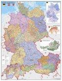 Stiefel Wandkarte Großformat Deutschland, Österreich und Schweiz, Postleitzahlen- und Organisationskarte, ohne Metallstä