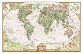 National Geographic The World, Weltkarte auf Kork-Pinnwand (historischer antiker Stil)