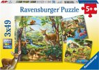 Ravensburger 09265 - Wald-/Zoo-/Haustiere, Puzzle, 3x49 Teile