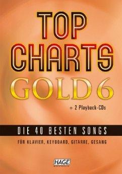Top Charts Gold, für Klavier, Keyboard, Gitarre, Gesang, m. 2 Audio-CDs