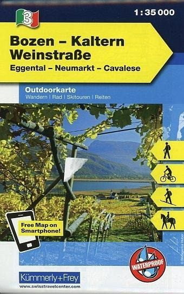 Kümmerly & Frey Outdoorkarte Bozen, Kaltern, Weinstraße