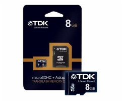 TDK, microSDHC Card 8GB, Class 4, inkl. SD-Card Adapter, Retail-Blister
