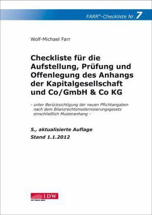 checkliste f r die aufstellung pr fung und offenlegung des anhangs der von wolf michael farr. Black Bedroom Furniture Sets. Home Design Ideas