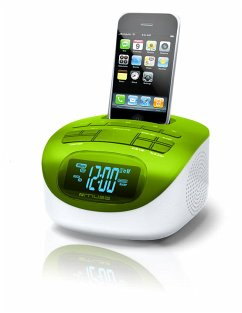 Muse M-103GR 4-kompatibel iPhone/iPod-Dockingstation (PLL Radio, Uhr, Dual-Alarm, AUX-IN) grün