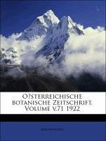 Oesterreichische botanische Zeitschrift, Einundsiebzigster Jahrgang