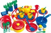 Geschirrset 57-teilig aus Kunststoff auf Tablett, Kinderspielzeug