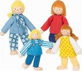 Goki 51955 - Biegepuppen: Junge Familie für Puppenhaus, 4 Figuren