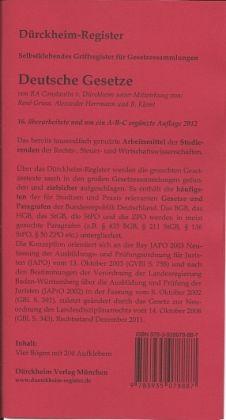 Dürckheim-Register / Schönfelder Hauptband (2013/2014): Griffregister für die Sammlung Schönfelder, Deutsche Gesetze - Dürckheim, Constantin