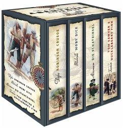 Die großen Klassiker der Abenteuerliteratur (4 Bde.) - Defoe, Daniel; Melville, Herman; Stevenson, Robert Louis; Twain, Mark