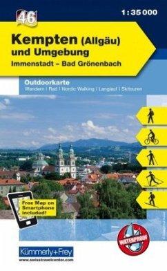 Kümmerly & Frey Outdoorkarte Kempten (Allgäu) und Umgebung