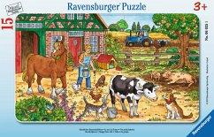 Ravensburger 06035 - Glückliches Bauernhofleben, 15 Teile Rahmenpuzzle