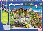 Schmidt 56040 - Playmobil: Auf dem Bauernhof mit Original-Figur, 60 Teile Puzzle