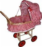 Puppen-Korbwagen mit Garnitur, rot / weiß Karo