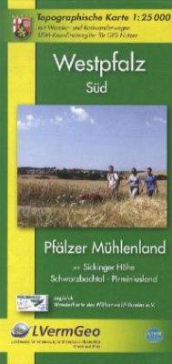 Topographische Karte Rheinland-Pfalz Westpfalz Süd