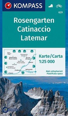 KOMPASS Wanderkarte Rosengarten, Catinaccio, Latemar