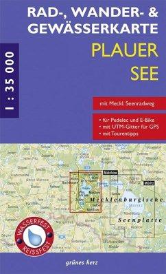 Rad-, Wander- und Gewässerkarte Plauer See