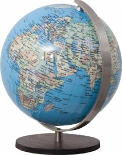 DUO Globus, Holzfuß braun u. Meridian Edelstahl / Columbus Globen .